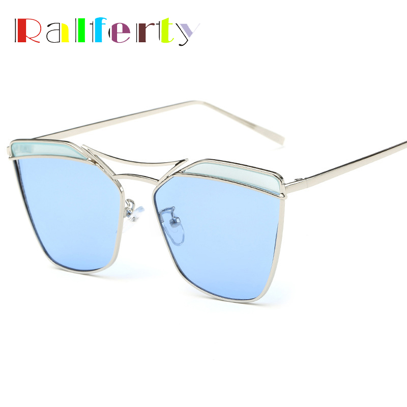 Ralferty Fashion Ladies Colorful Sunglasses Women Oversized Metal Flat Top Sun Glasses For Woman Butterfly Oculos lunettes 2235(China (Mainland))