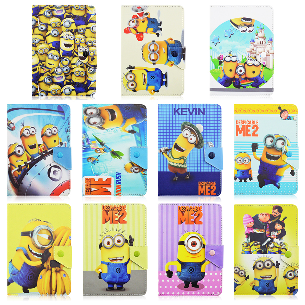 "Fashion Newest Cute 3D Cartoon Folding 8"" PU leather Case For Samsung Tab 4/Tab 3/For LG Despicable Me Minions Christma Gift(China (Mainland))"
