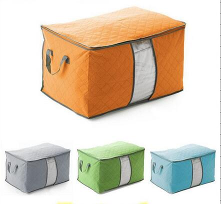2016 New Hot Sale Storage Bag Box Portable Organizer Non Woven Underbed Pouch Storage Bag Box Bamboo Quilt Storage Bag(China (Mainland))
