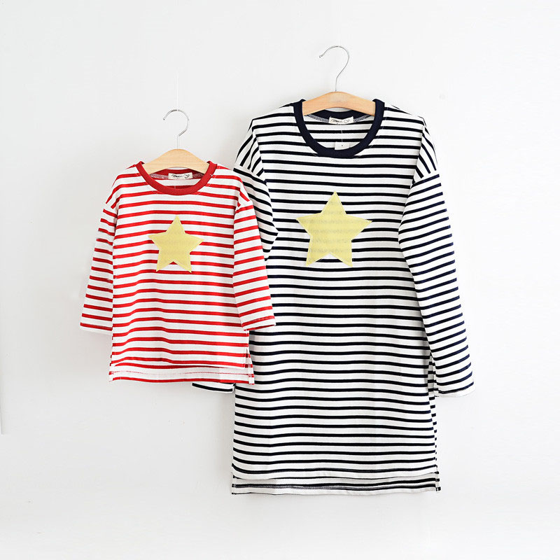 font b Matching b font Mother Daughter Clothes 2016 Autumn Striped Causal Long Sleeve T