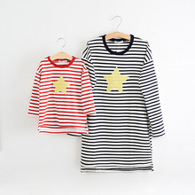 Matching Mother Daughter Clothes 2016 Autumn Striped Causal Long Sleeve T-shirt Star Print Dresses Mom Baby Family Outfit