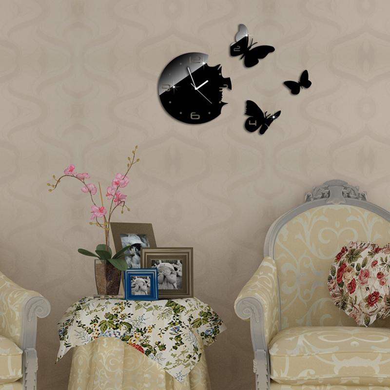 Especiais rodadas pretas com borboletas relógio de parede espelho relógio de parede, 3d parede espelho de cristal relógios de parede, 3 butterflies total