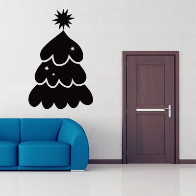 Lovely tree christmas clauswords wall sticker home decor for Christmas home decor stores