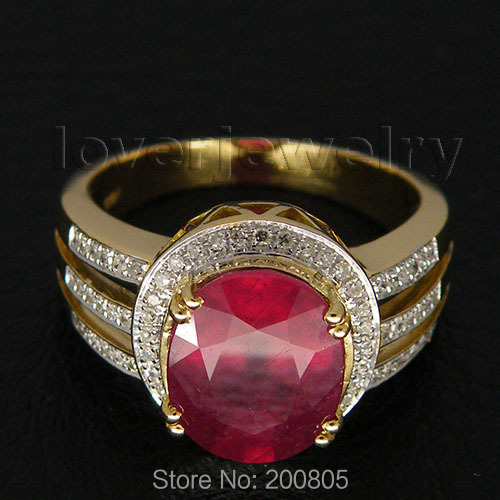 Amazing Jewelry! 4.50Ct Solid 14Kt Yellow Gold Diamond Red Ruby Ring,Ruby Wedding Ring Flash Sale(China (Mainland))