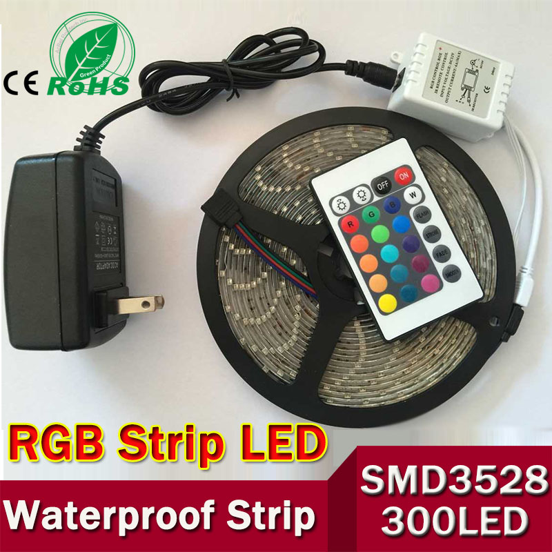 Гаджет  Waterproof 3528 RGB Led Strip Flexible Light 60led/m 5M 300 LED SMD DC 12V+ IR Remote Control + 2A Power Supply free shipping None Свет и освещение