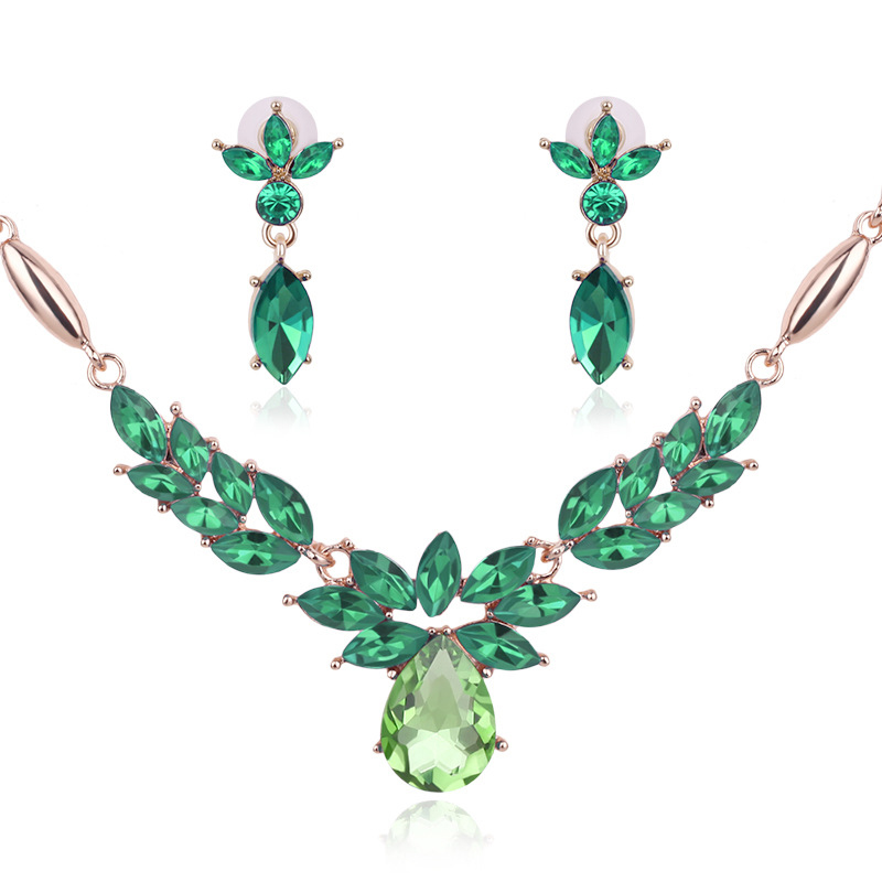 African Gold Plated Sapphire Blue Jeweler Sets Crystal Necklace + Earrings Green Rose Pendant Necklace Set Women Fashion Jewelry(China (Mainland))