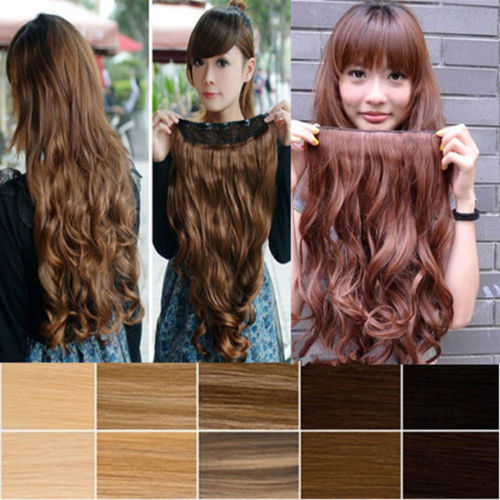 """Cheap price Long 17"""" Curly/ Wavy clip in hair extensions One Piece 5clips 100% real natural hair extention Maga Thick hair piece(China (Mainland))"""