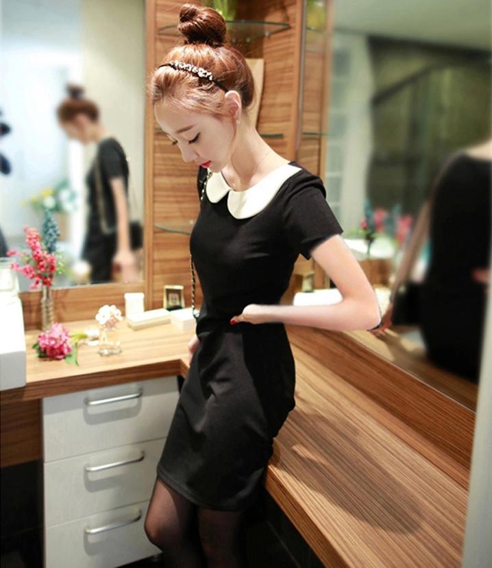2015 new brand women dress for autumn / spring , Peter pan Collar mini dress for women free shipping QZ-25(China (Mainland))