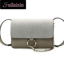 Women Designer Scrub Circle Ring Suede Messenger Bags Vintage Envelope Patchwork Clutch Bag Rings sac Small Chain Satchel Bag(China (Mainland))