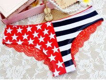 New Hot Womens Ladies Sexy Pants Flag Print Back Lace Briefs Underwear Knickers