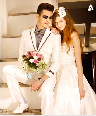 Por encargo de 3 unidades ( Jacket + Pants + Bow ) trajes de novio blanco