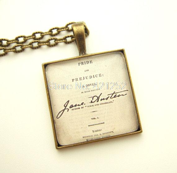 12pcs/lot Jane Austen inspired necklace UK Pride And Prejudice Necklace Book Lover Gift(China (Mainland))
