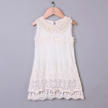 new aarival sleeveless princess Girl Lace Dress Embroidered Pearl girl vintage dresses for brithday high street