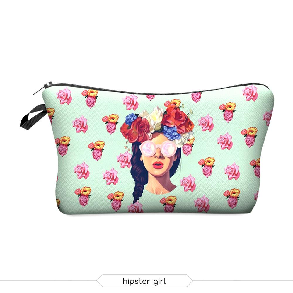 deanfun 2016 новая мода 3d печати женщин макияж мешки с многоцветной узором для путешествий легко принимать