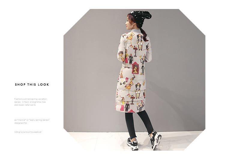 Скидки на Мода Зима Женщины Длинное Пальто Теплое Вниз Пальто Хлопка для женщины Мультфильм Печати Тонкий Женщины Длинные Куртки Проложенный Верхней Одежды Парки женский