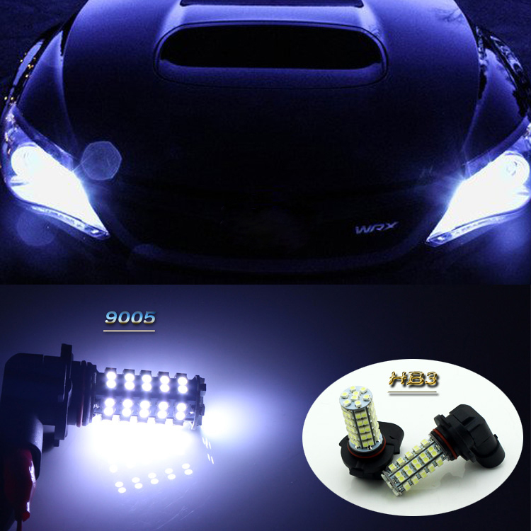 Car styling 55W Xenon White 68-SMD 9005 HB3 LED Fog DRL Daytime Running Light Lamp Bulb For Subaru Imperza WRX Forester Legacy(China (Mainland))