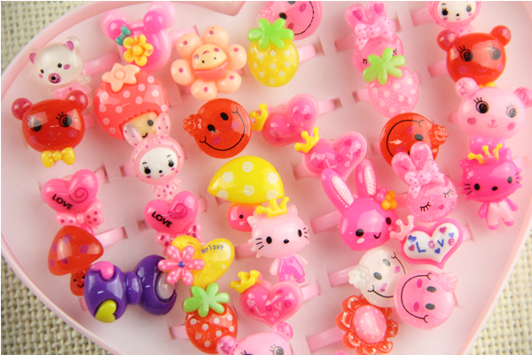 10pcs/lot Animals Flower Heart Assorted Baby Girl Children's Cartoon Rings free shipping Children are lovely and beautiful(China (Mainland))