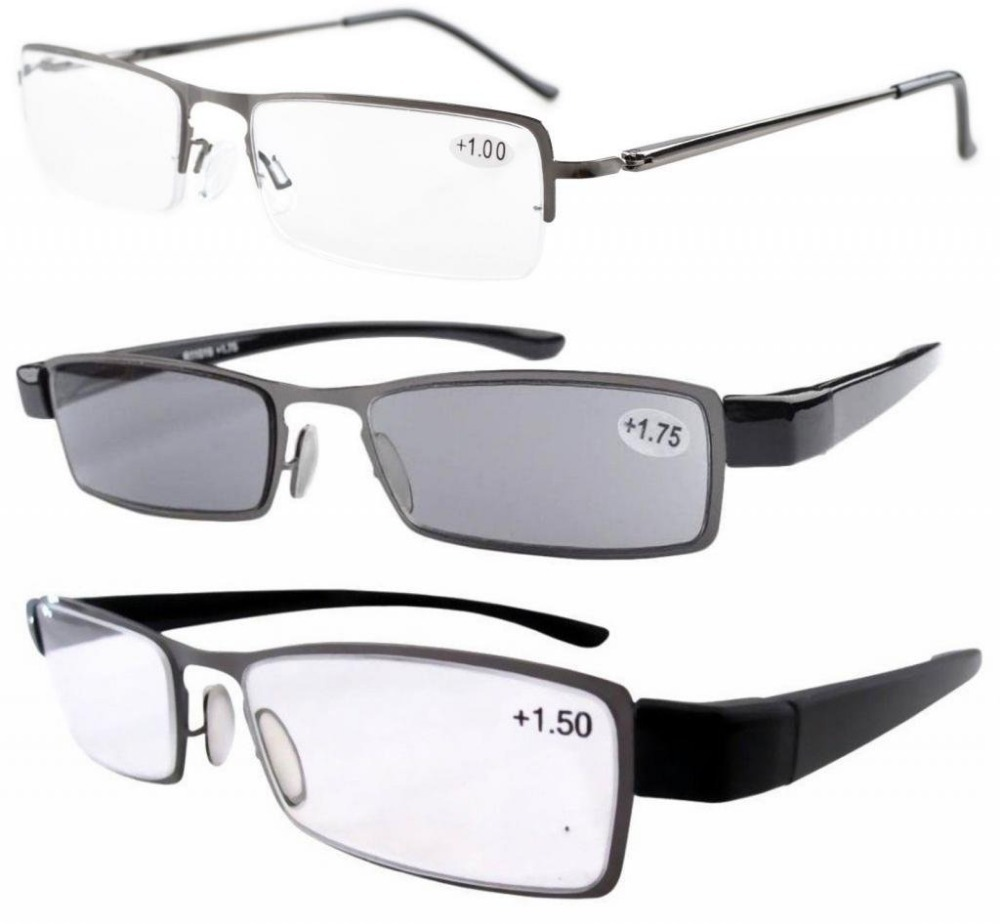 3 pack reading glasses sun readers hinge half