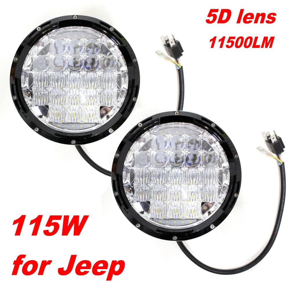 "2pcs 7"" Round 5D Lens LED Headlight Headlights Headlamp Wrangler CJ TJ JK DRL High Low Beam Driving Car Truck 4x4 ATV Offroad(China (Mainland))"