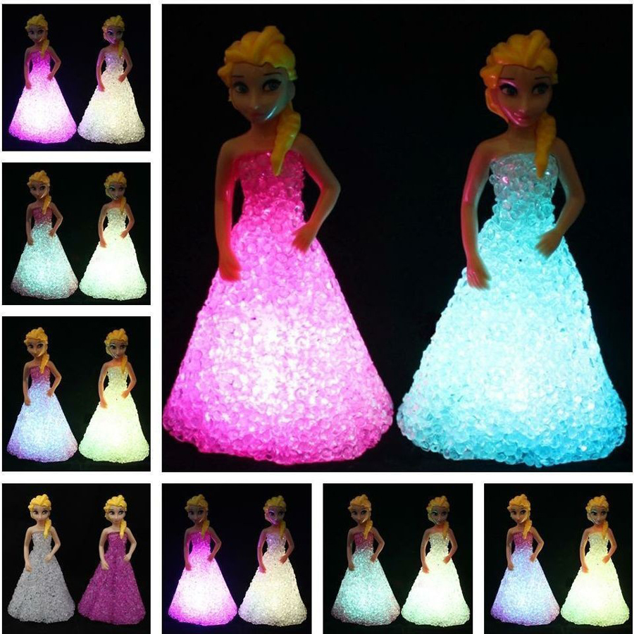 Baby Doll Toys For Girls Anna Elsa Toys Doll 7 LED Color Changing Night Light Lamp Equestria Girls Gift C0A759(China (Mainland))