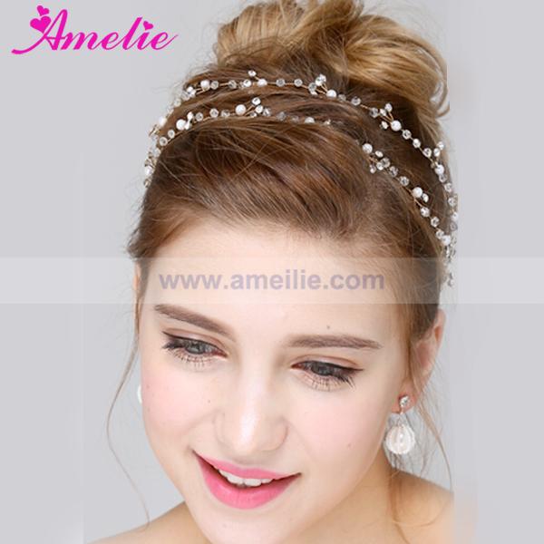 Free Shipping A15074 Handmade Wedding Bridal Headpieces Long Hair Vine Honey Styles Girls Hair Jewelery Hairband(China (Mainland))