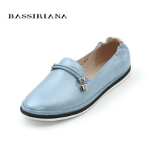 Buy Leather shoes woman flats slip-on 35-41 Blue Pink Black Soft genuine leather women shoes Free BASSIRIANA for $47.50 in AliExpress store