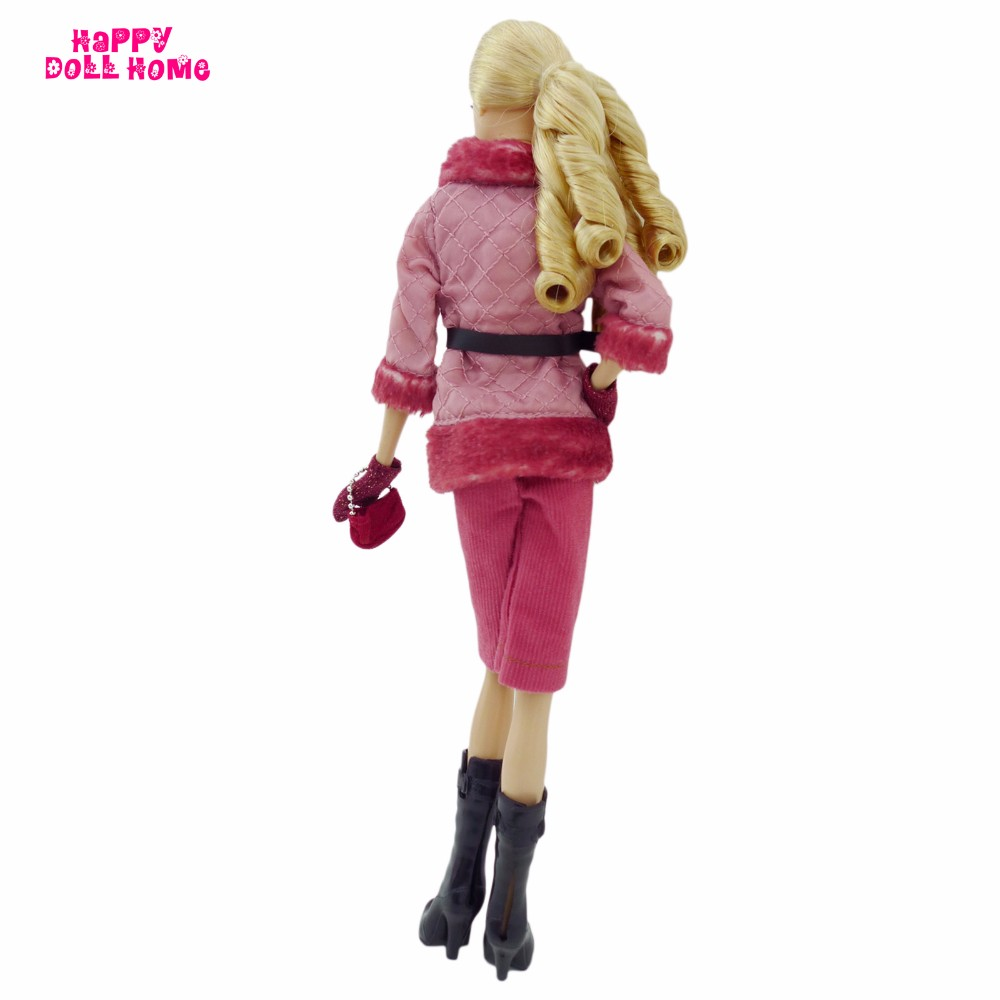 Winter Style Chilly-proof Outfit Coat Jacket Pants Scarf Gloves Purse Boots Sneakers Garments For Barbie FR Doll Equipment Toys