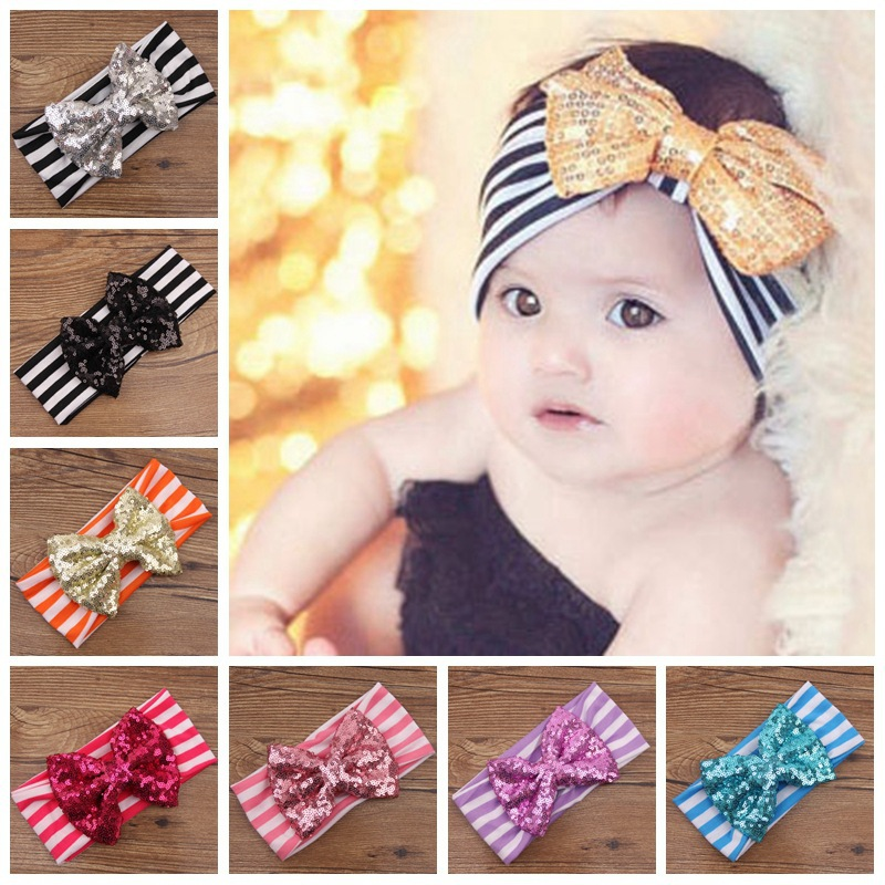 MENG Children Big Sequins Bow Headwraps Elastic Hairband Baby Striped headbands Kids Hair Accessories H06239(China (Mainland))