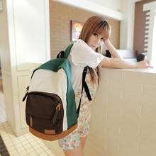 Color block decoration school backpack preppy style travel canvas laptop bag(China (Mainland))