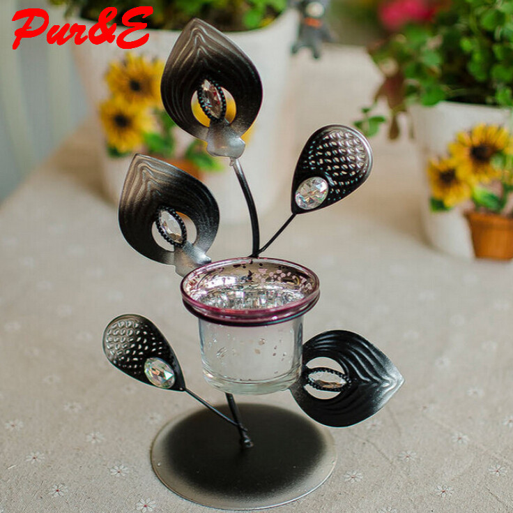 Creative crafts iron candlestick peacock flaunting its tail romantic style candle holders oranments craft punch set HDC0374(China (Mainland))