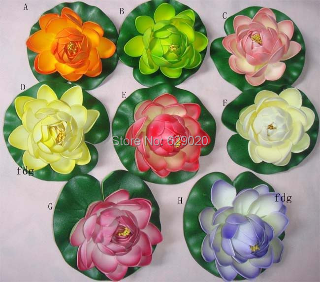 8 pc artificial lotus flower faux silk floating flower fake Craft Water Lily plant leaf great for pond house party 8 color(China (Mainland))