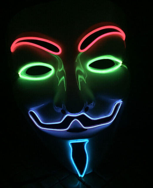 V for Vendetta EL Halloween Cosplay Mask Costume Guy Fawkes Anonymous Glowing Mask