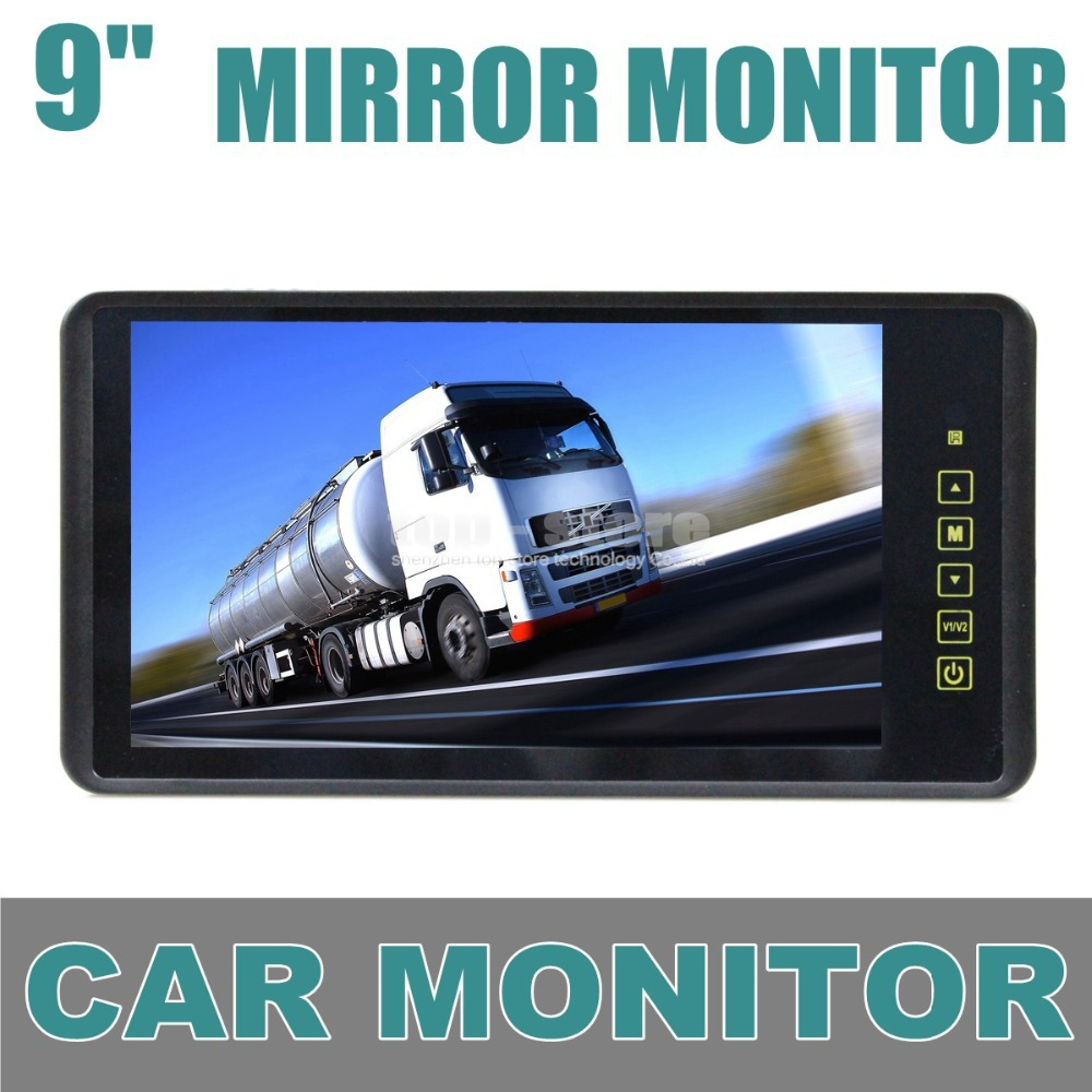 9 Inch TFT LCD Display Rear View Car Mirror Monitor With 2 Video Input For Parkign System Car CCD Camera Cam / DVD(China (Mainland))