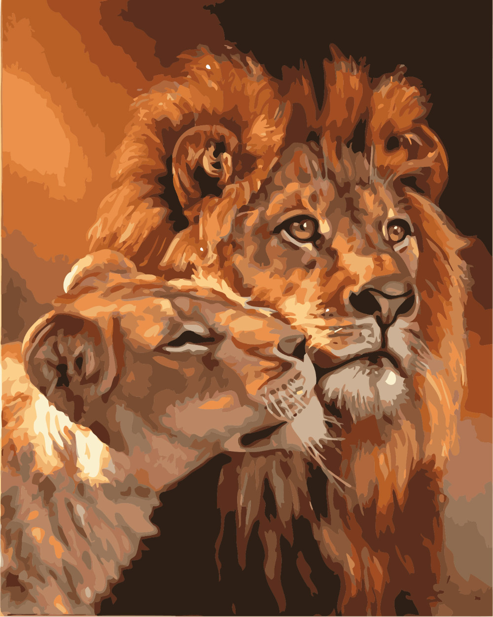 The new high-quality digital painting diy hand-painted digital painting a unique gift acrylic painting Lion MS8710(China (Mainland))