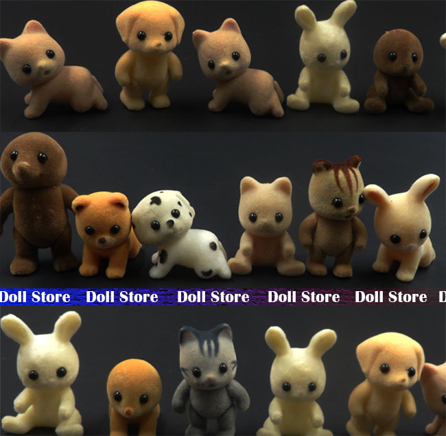 20pcs/lot 3-5cm 2015 Sylvanian families Villus bear/rabbit/dog/cat/monkey action figure juguetes Random Send kids toys for girls(China (Mainland))