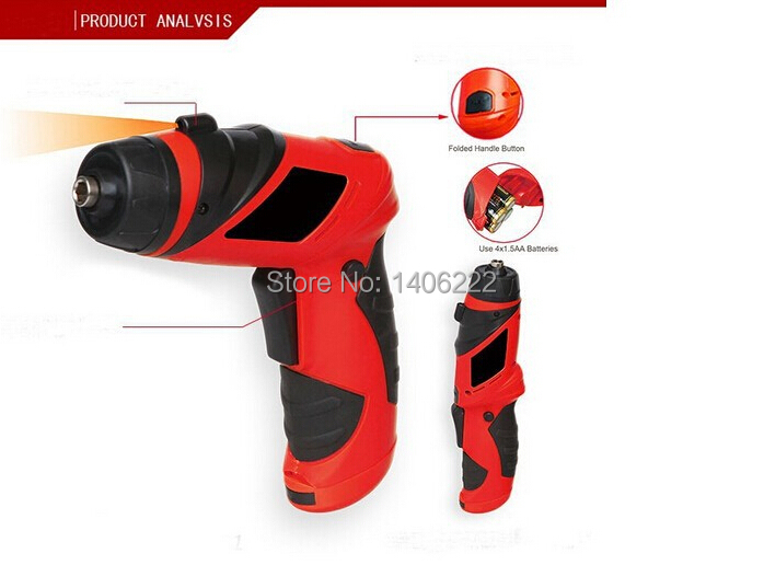 6V Palm Grip Screwdriver Battery Operated Cordless electric drill Household DYI Tools Home assistance with LED(China (Mainland))