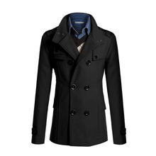 2015 Hot Selling Wholesale Comfortable Design woolen High Quality Mens Trench Coat Double Breasted Solid Men LongTrench Overcoat(China (Mainland))