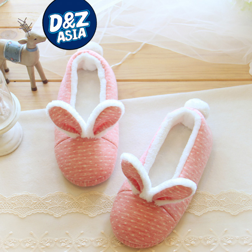 Lovely pink rabbit silk art winter warm velvet slippers Home Furnishing comfortable indoor shoes and bags with shoes on<br><br>Aliexpress