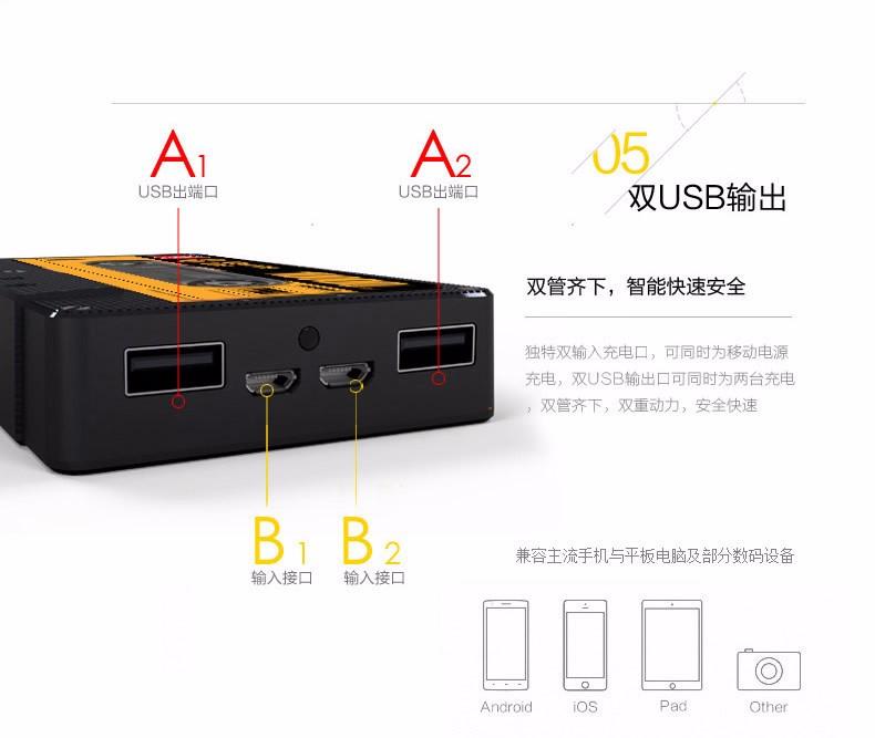 10000 mA mobile power polymer tape dualoutput charging treasure universal power Bank portable mobile power Universal smart phone
