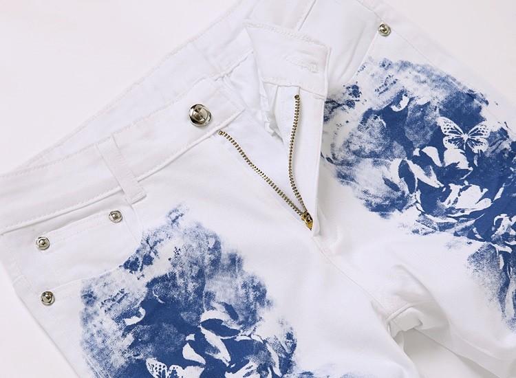 Скидки на Новая коллекция весна и лето 2016, мода, развивать нравственность печатных белые джинсы.