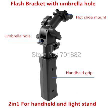 Flash Handheld Grip Light Stand Bracket Holder Camera Flash Bracket with Hot Shoe and Umbrella Mount for Flash LED Video Light(China (Mainland))