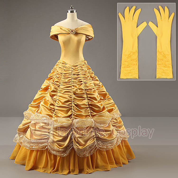 Adult Luxurious Princess Belle Costume A-Line Cosplay Adult Princess Belle Costume DressОдежда и ак�е��уары<br><br><br>Aliexpress