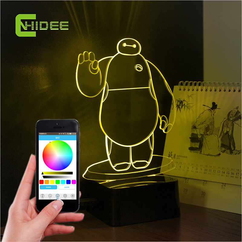 CNHIDEE 2015 100% real Hot New 3d Baymax speaker kids bluetooth music lamp phone controller lighting  table lamps for kid<br><br>Aliexpress