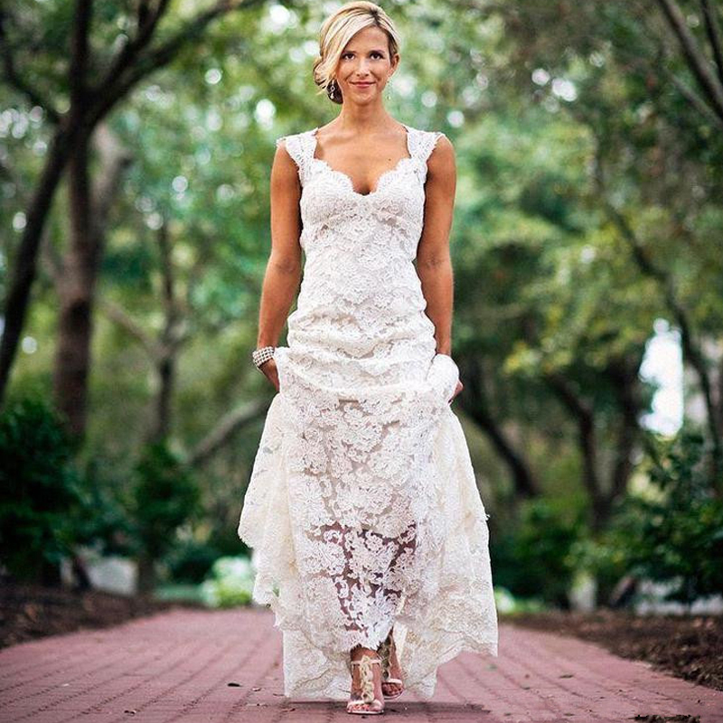 Pretty floral lace rustic wedding dresses v neck cap for Wedding dresses for country wedding