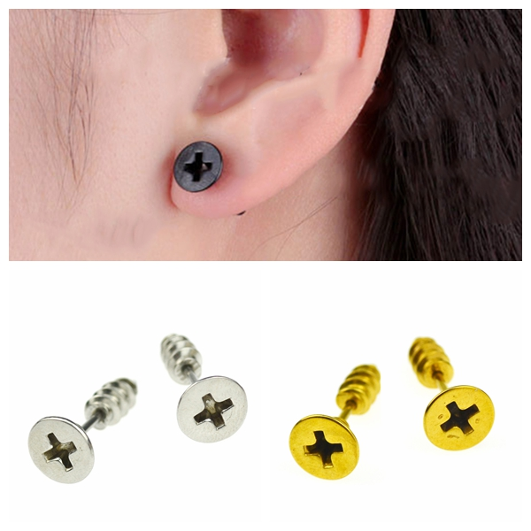 Punk Stainless Steel Whole Screw Stud Earrings Fashion Design Ear Stud For Men Women(China (Mainland))