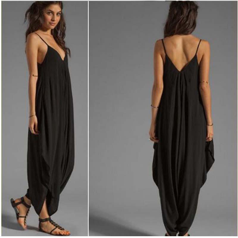 women deep v strap one piece baggy jumpsuit playsuit. Black Bedroom Furniture Sets. Home Design Ideas