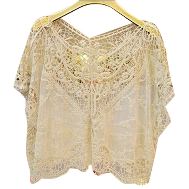 New 2015 hot sell Women Fashion Lace blouse Sweet Cute hollow out pure color Flower Batwing Loose Blouse Shirt women Top 3812890