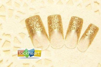 Freeshipping 3D Acrylic Nail Art False Fake Nail Tips With Nail Glue shining champagne style bride wedding gift 1set(24pcs) 040