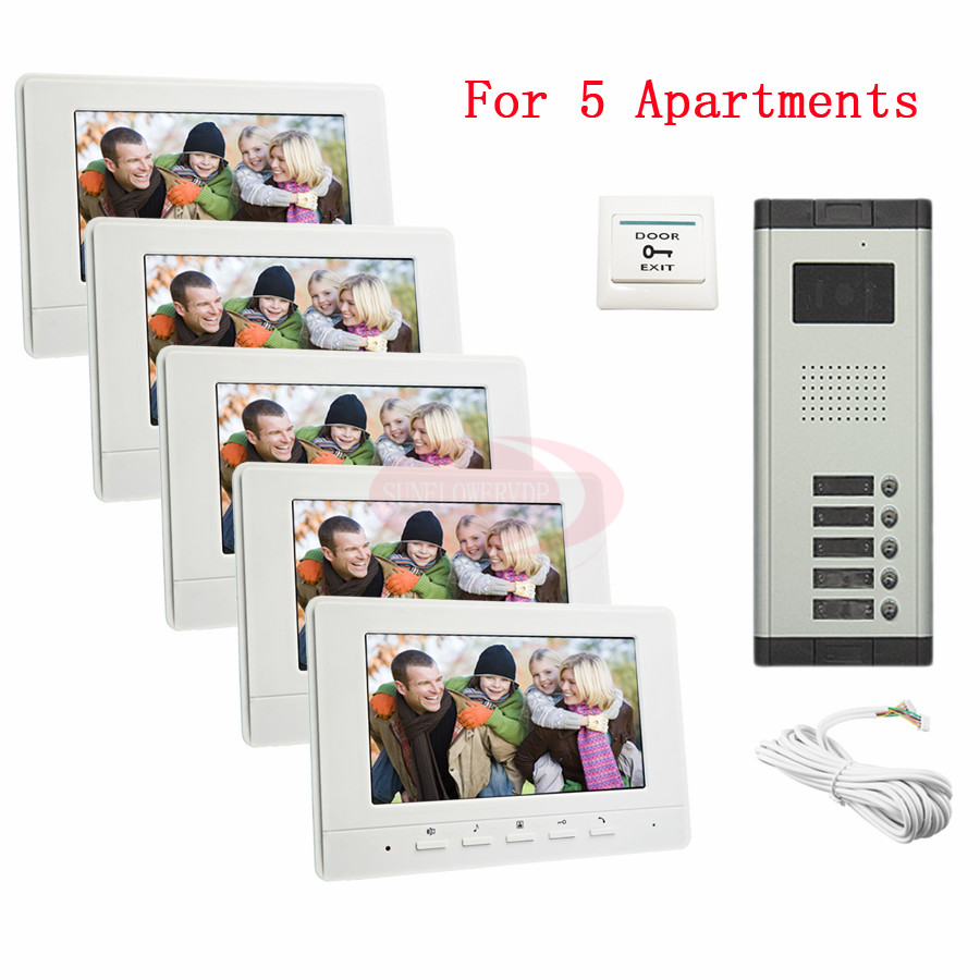 "For 5 Apartments Luxury Home Color Video Door Phone Intercom Kit DoorBell 7"" LCD Monitor DoorPhone IR Camera In Stock!(China (Mainland))"