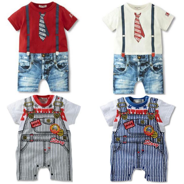 Free shipping 2014 new cute Rompers baby short sleeve summer fake tie Rompers gentleman strap leotard climbing clothes 4 color(China (Mainland))